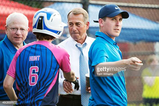 From left Dave Espo of the AP Kasie Hunt of NBC Speaker John Boehner ROhio and Frank Thorp of NBC are pictured during the Congressional Women's...