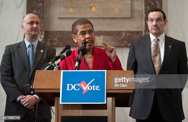 From left DC Vote Executive Director Ilir Zherka Del Eleanor Holmes Norton DDC and Mayor Vincent Gray speak during the DC Vote ÒDonÕt Tread on DCÓ...