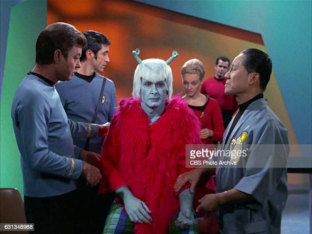 From left: DeForest Kelley as Dr. Leonard H. McCoy, Dick Geary as Andorian and Keye Luke as Governor Cory on the Star Trek: The Original Series...