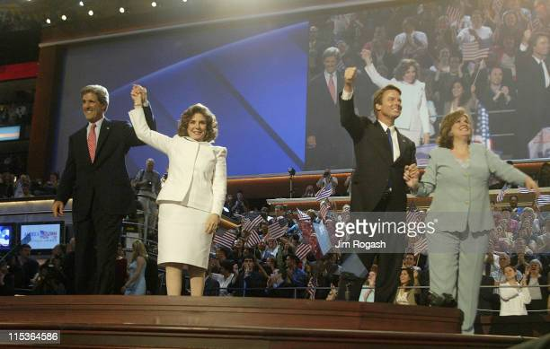 From left Democratic nominee for President John Kerry his wife Teresa Heinz Kerry Vice Presidential nominee John Edwards and his wife Elizabeth...