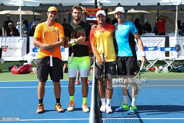 From left Dennis Novikov Quentin Halys Matt Reid and JohnPatrick Smith stand for a photo before the doubles final of the 2016 Tiburon Challenger on...