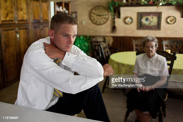 From left Derrick Romney sits with his grandmother Nellie Romney as they wait for dinner in Colonia Juarez Mexico in July 2011 United States...
