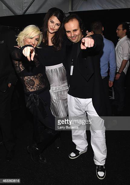 From left, Designer Estel Day, Singer Lily Lane, and designer Mark Tango pose backstage at the Mark And Estel fashion show during Mercedes-Benz...