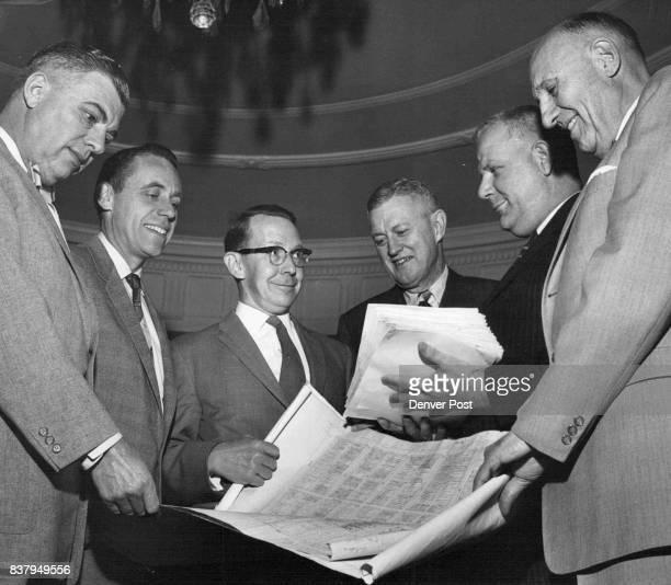 From left Dick Batter Ton Sen Herrick Roth Charles H Haines Jr Mayor Nicholson Ed Christianson Bill Creim Credit Denver Post