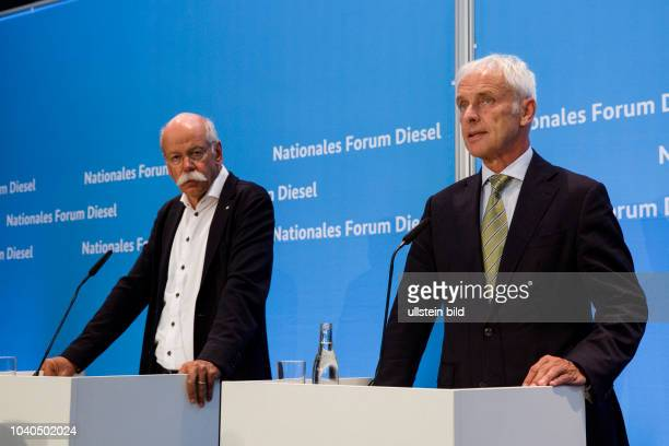Dieter Zetsche Chief Executive Officer of Daimler Matthias Mueller CEO of Volkswagen The Diesel Summit at the Federal Ministry of Transport and...