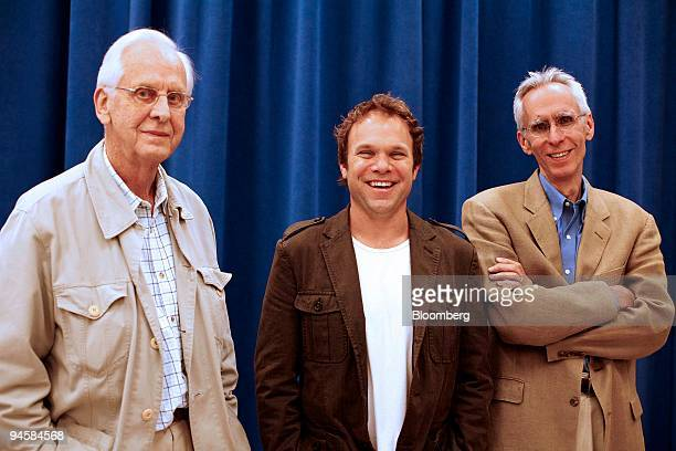 From left director Michael Blakemore actor Norbert Leo Butz and actor David Ives who worked on Is He Dead a play written by Mark Twain in 1898 pose...