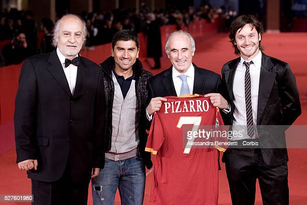 From left director Miguel Littin Public Works Minister Sergio Bitar and actor Benjamin Vicuna player David Pizarro all from Chile pose on the red...