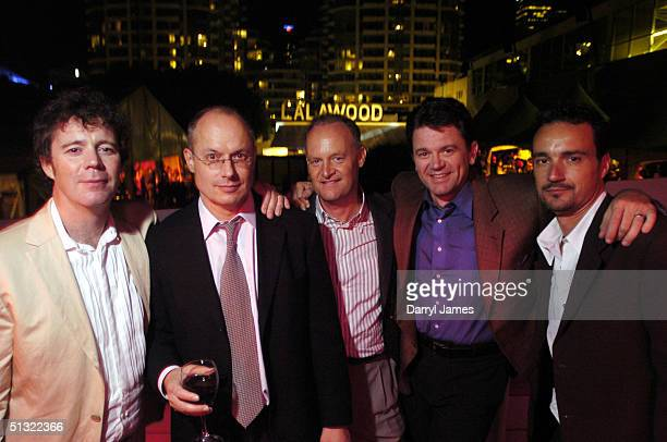 From left, director Vadim Jean, producer Paul Brooks, executive producer Norm Waitt, actor John Michael Higgins, and producer Scott Niemeyer attend...
