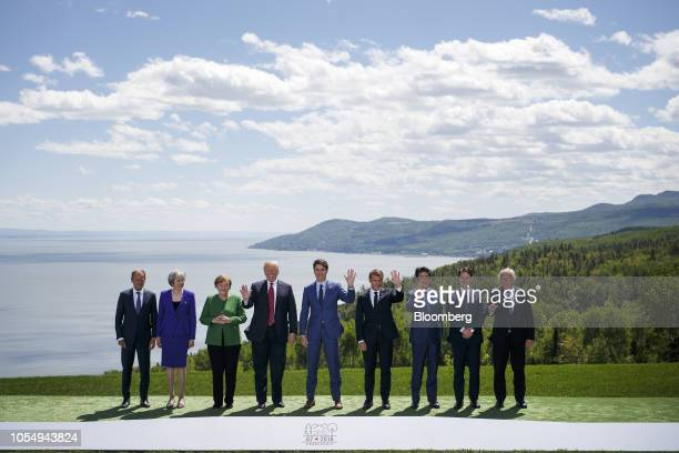 From left Donald Tusk president of the European Union Theresa May UK prime minister Angela Merkel Germany's chancellor US President Donald Trump...