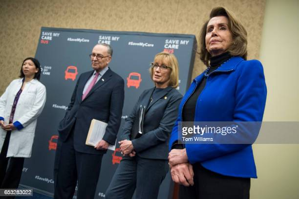 From left Dr Alice T Chen Senate Minority Leader Charles Schumer DNY Sen Maggie Hassn DNH and House Minority Leader Nancy Pelosi DCalif attend a news...
