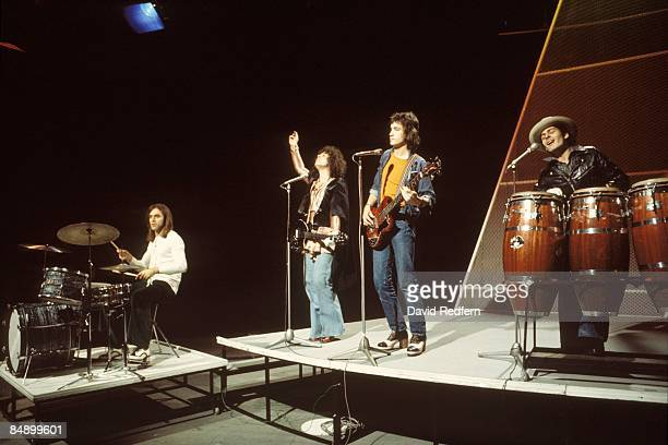 From left, drummer Bill Legend, singer and guitarist Marc Bolan , bass guitarist Steve Currie and percussionist Mickey Finn of English glam rock...