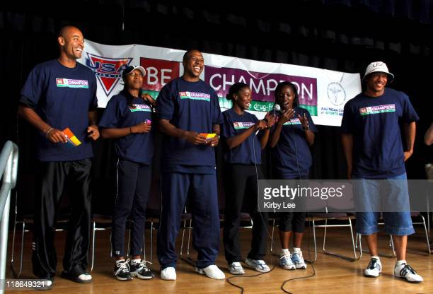 Elite track and field athletes Dominique Arnold Nichole Denby Leonard Scott Angela Williams Inger Miller and Maurice Greene recite the Be A Champion...