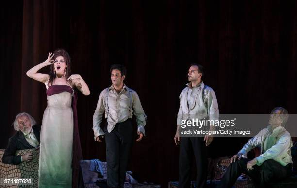 From left English bass Sir John Tomlinson American soprano Audrey Luna Canadian tenor Frederic Antoun American baritone David Adam Moore and American...