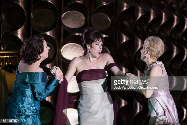 From left English mezzosoprano Christine Rice American soprano Audrey Luna and English soprano Sally Matthews perform at the final dress rehearsal...