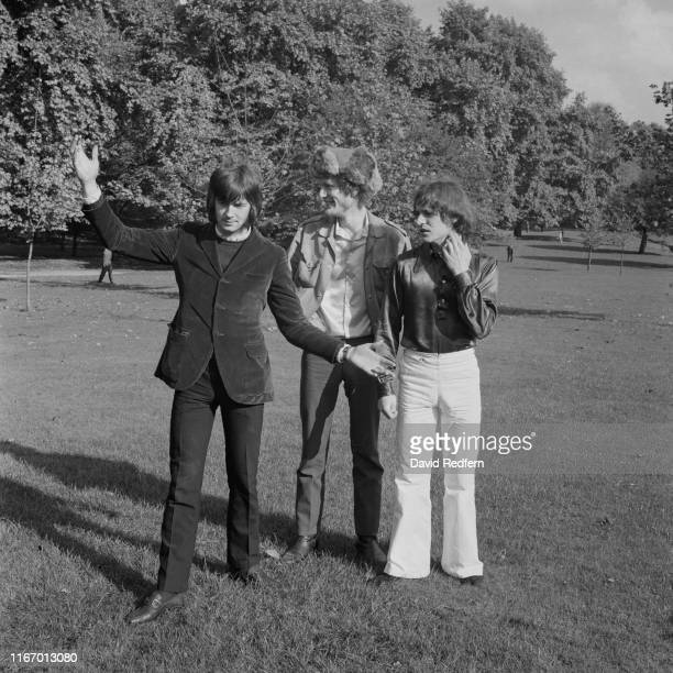 From left, Eric Clapton, Ginger Baker and Jack Bruce of British rock band Cream posed together in Green Park, London, in July 1966.