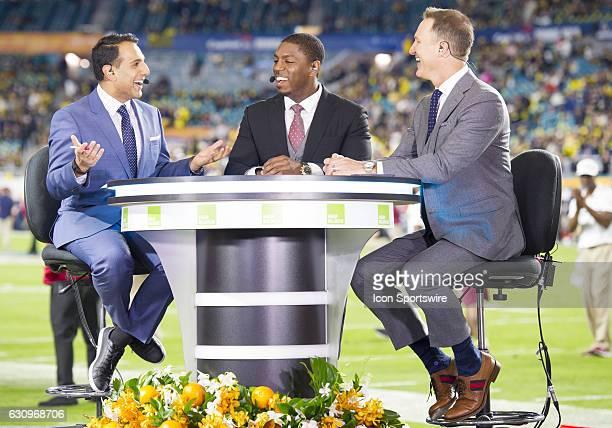 From left ESPN Studio Anchor Adnan Virk ESPN commentator Jonathan Vilma and ESPN analyst Danny Kanell during the ESPN College Football Pregame Show...