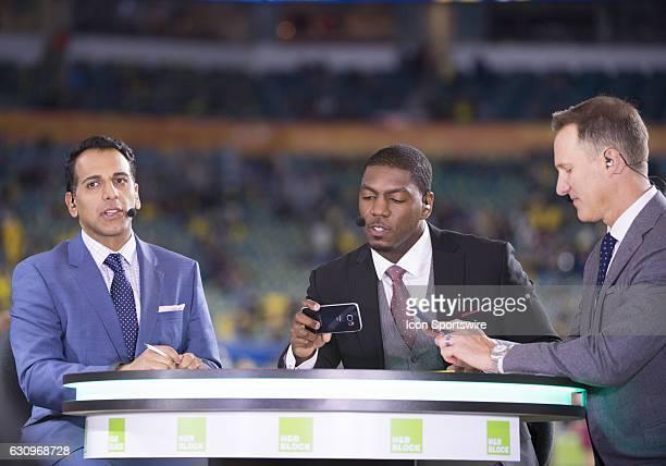 From left ESPN Studio Anchor Adnan Virk ESPN commentator Jonathan Vilma and ESPN analyst Danny Kanell prepare for the ESPN College Football Pregame...