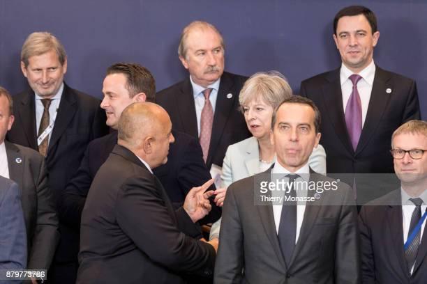 From Left EU European Neighbourhood Policy Enlargement Negotiations Commissioner Johannes Hahn Luxembourg Prime Minister Xavier Bettel Bulgarian...