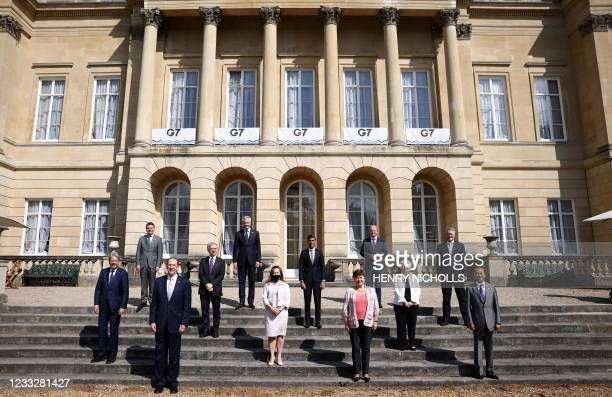 From Left, European Commissioner for Economy Paolo Gentiloni, Eurogroup President Paschal Donohoe, President of the World Bank David Malpass, Italy's...