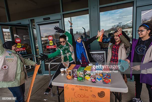 From left Faateha Syed Tamam Hammad Zahra Syeed Layla Elhamalawy and Inaya Mir sing as they sell cookies Girl Scout Troop 1388 sells cookies at a...