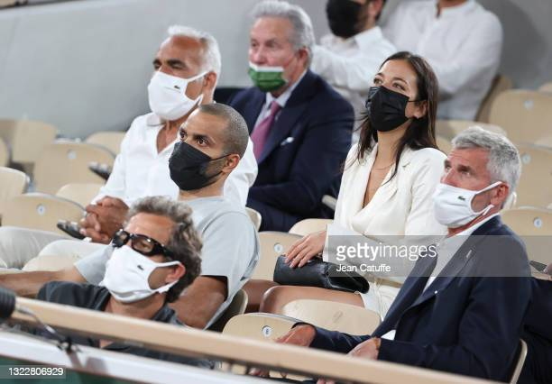 From left, Fabien Galthie, coach of French rugby team , Tony Parker, his girlfriend Alize Lim, President of French Tennis Federation FFT Gilles...