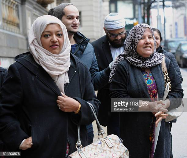 From left family friend Rabia Chaudry leaves Courthouse East with Yusuf Syed and Shamim Rahman brother and mother of Adnan Syed on Feb 9 2016 in...