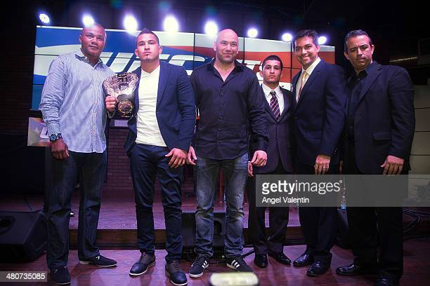From left; Felix Tito Trinidad, former boxing champion, Anthony Pettis, UFC lightweight champion Dana White, UFC CEO and President, Sergio Pettis,...