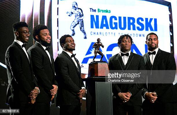 From left Florida State defensive back Tarvarus McFadden Clemson defensive tackle Christian Wilkins Michigan linebacker Jabrill Peppers Alabama...