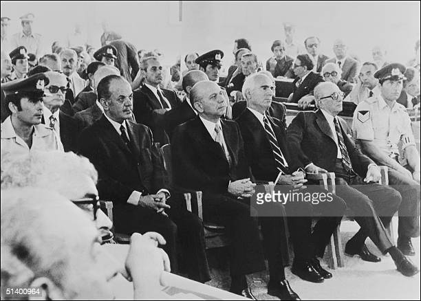 From left Former Greece Prime Minister Georgios Papadopoulos Nikolaos Makarescos Slylianos Pattakos and Grigorios Spandidakis the members of...