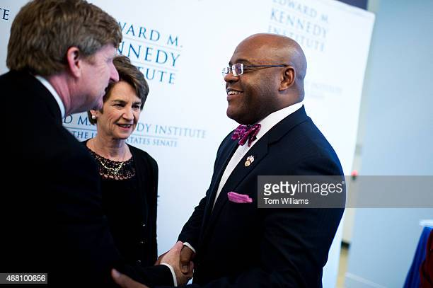 From left, Former Rep. Patrick Kennedy, D-R.I., Kathleen Kennedy Townsend, and former Sen. Mo Cowan, D-Mass., talk during a gala that was part of the...