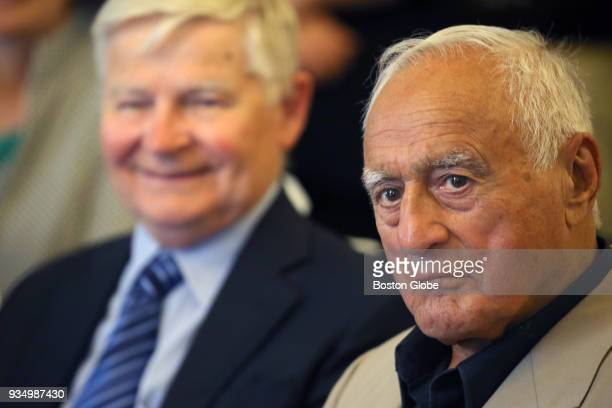 BOSTON MA JUNE 28 From left Former Senate President William Bulger and Francis X Bellotti who served as Attorney General for the Commonwealth of...