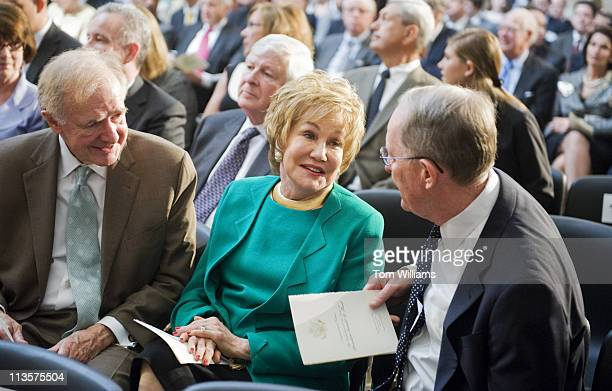 May 3: From left, Former Senators Donald Riegle, Elizabeth Dole, and Sen. Lamar Alexander, R-Tenn., talk before the statue unveiling ceremony for...