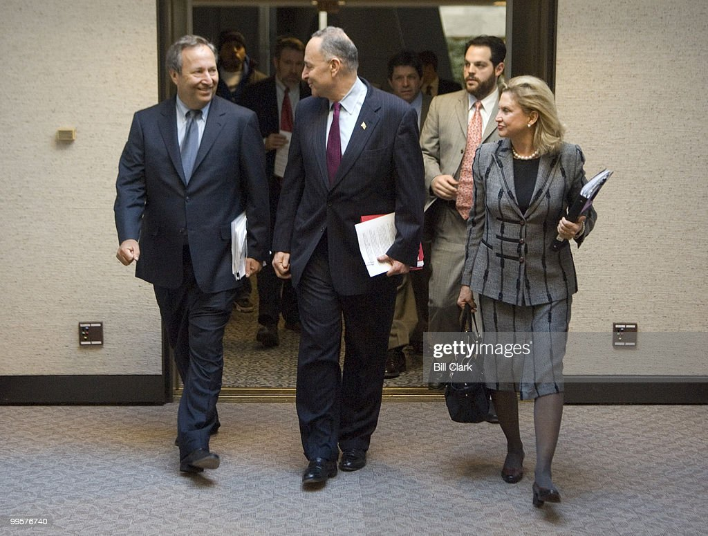 From left, former Treasury Secretary Lawrence Summers, Sen. Charles Schumer, D-N.Y., and Rep. Carolyn Maloney, D-N.Y., arrive for the Joint Economic Committee hearing on 'What Should the Federal Government Do to Avoid a Recession?' on Wednesday, Jan. 16, 2008.
