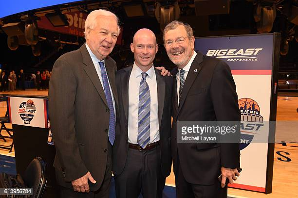 From left Fox Sports analyst Bill Raftery current head coach of Seton Hall basketball Kevin Willard and former Seton Hall and NBA coach PJ Carlesimo...