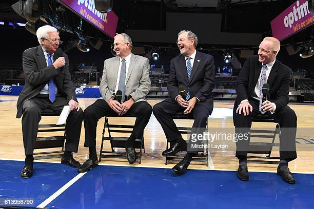 From left Fox Sports analyst Bill Raftery UConn head coach Jim Calhoun former Seton Hall and NBA coach PJ Carlesimo and St John's head coach and...
