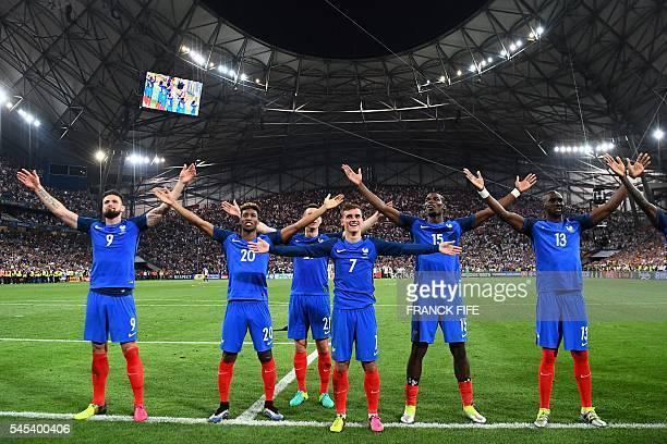 France's forward Olivier Giroud, forward Kingsley Coman, defender Laurent Koscielny, forward Antoine Griezmann, midfielder Paul Pogba, France's...