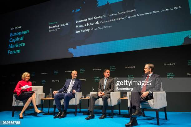 From left Francine Lacqua editor at large and anchor for Bloomberg Television Marcus Schenck deputy chief executive officer of Deutsche Bank AG Jes...