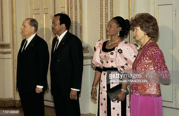 From left Francois Mitterand Paul Biya Chantal Biya and Daniele Mitterand in Paris France on April 5 1987