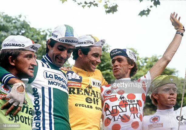 Freddy Maertens of Belgium, wearing the Green Jersey of best sprinter, Frenchmen Robert Alban, placed 3rd, Bernard Hinault, wearing the Yellow Jersey...