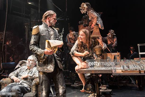 From left French artist James Thierree Swedish artist Magnus Jakobsson and Canadian contortionist Valery Doucet along with their fellow La Compagnie...