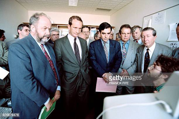 From left French minister for the civil service Andre Rossinot minister of industry Gerard Longuet Higher education and research minister Francois...