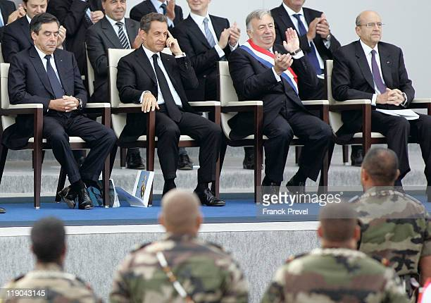 from left French Prime Minister Francois Fillon French President Nicolas Sarkozy French President of the Senate Gerard Larcher and Foreign Affairs...