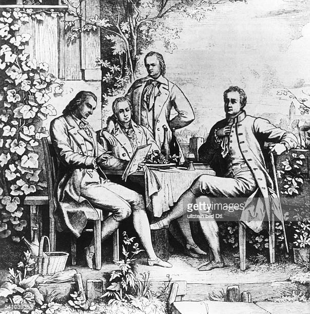 ' From left Friedrich von Schiller Wilhelm and Alexander von Humboldt and Johann Wolfgang Goethe1797 Drawing by Ludwig Adrian Richter