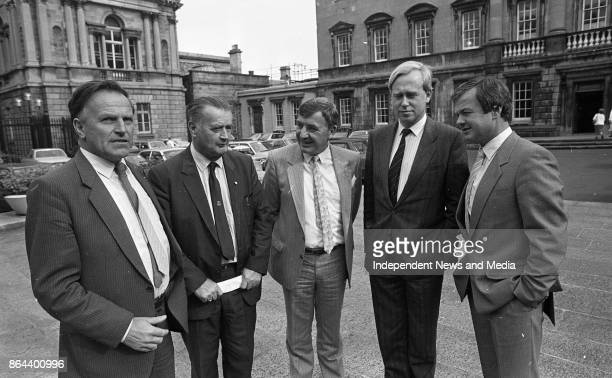 From left Gael Senators John Browne Jackie Daly Denis Cregan Alexis Fitzgerald and Jim Higgins at Leinster House for the Senate Meeting October 1 1986