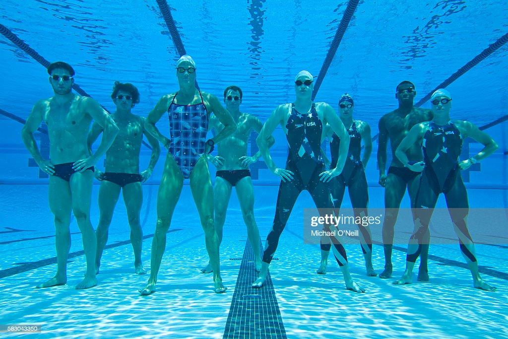 Garrett Weber-Gale, Ryan Lochte, Dara Torres, Aaron Piersol, Katie Hoff, Margaret Hoelzer, Cullen Jones, and Natalie Coughlin.