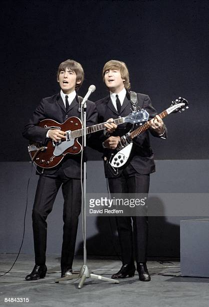 Photo of BEATLES and John LENNON and George HARRISON George Harrison John Lennon at the Granville Studio perfomring on 'Shindig' Bigsby Vibrato