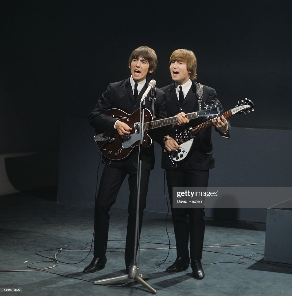 John Lennon Playing A Rickenbacker 325 Guitar And George Harrison Gretsch 6119 Tennessean
