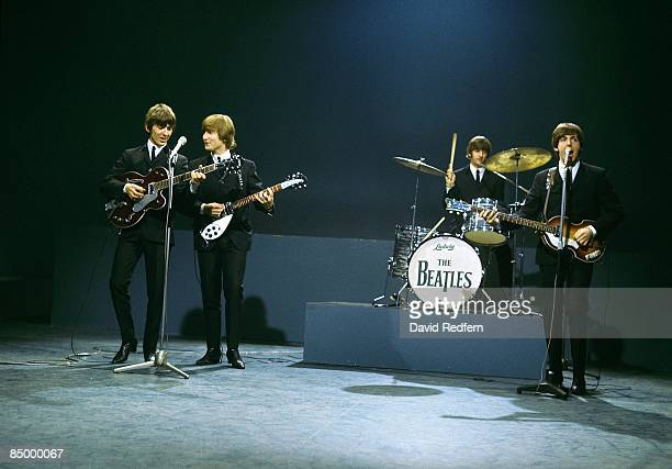 Photo of BEATLES George Harrison John Lennon Ringo Starr Paul McCartney at the Granville Studio perfomring on 'Shindig'