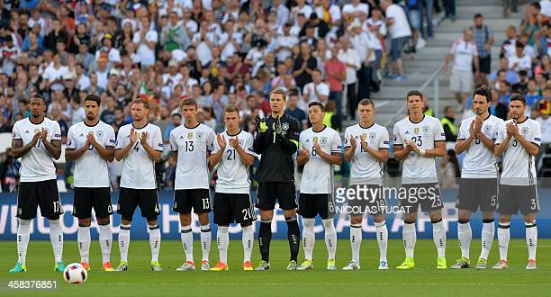 Germany's defender Jerome Boateng Germany's midfielder Sami Khedira Germany's defender Benedikt Hoewedes Germany's midfielder Thomas Mueller...