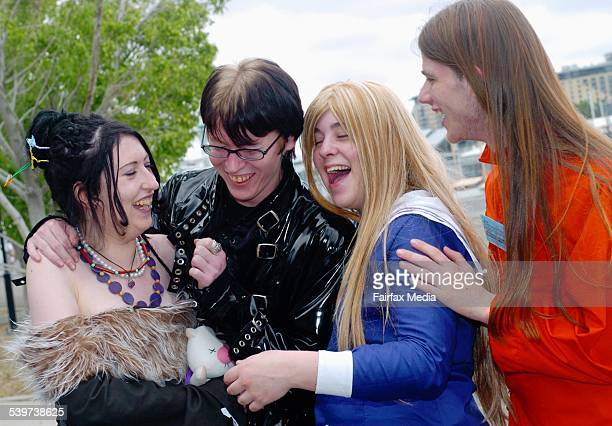 From left Gina Reynolds Matthew Woods Kate Dockrill and Douglas Rees at the Supanova Pop Culture Expo in Walsh Bay 14 October 2005 SHD NEWS Picture...